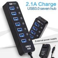 USB Hub,Leadzoe USB Splitter With 7 USB 3.0 Hub Port&1 USB Charging Port &5V 2A Power with 8 individual power switches Adapter