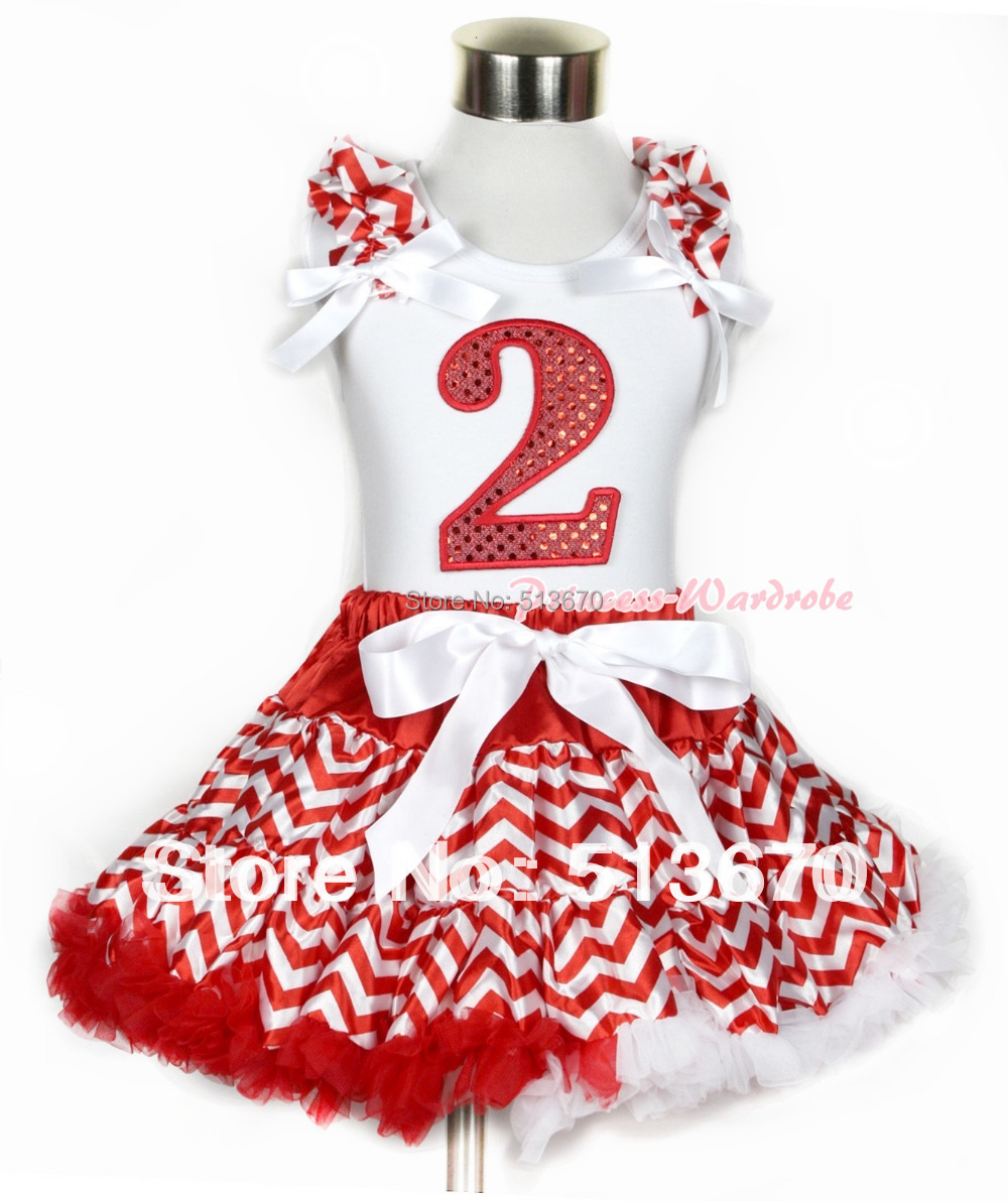 Xmas White Tank Top 2nd Sparkle Red Birthday Number Red White Wave Ruffles & White Bow & Red White Wave Pettiskirt MAMG747 red black 8 layered pettiskirt red sparkle number ruffle red bow tank top mamg575