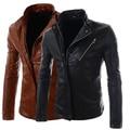 Черный коричневый Оригинальный Персонализированные 2016 весна PU пальто мужские кожаные куртки для продажи стенд воротник Мотоцикл одежды M-2XL