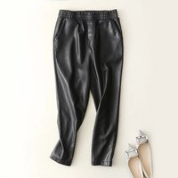women Fashion Black Faux Leather Joggers Women Loose Jogger Pants Hip Hop Street Wear Harem Ankle Length Pants