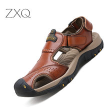 цена Men Sandals Genuine Split Leather Men Beach Roman Sandals Brand Men Casual Shoes Flip Flops Men Slippers Sneakers Summer Shoes