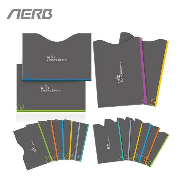AERB 16 Peças Por Conjunto Mangas Mangas de Cartão De Identidade Protector RFID Bloqueio de Cartão RFID Anti-Roubo Caso Para O Crédito cartão & Passaporte