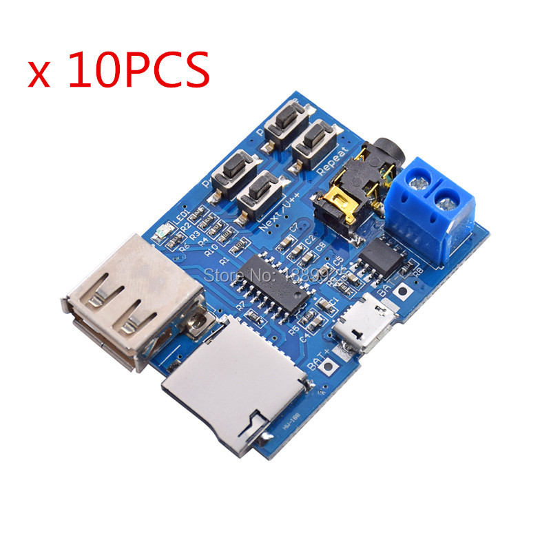 10Pcs TF Card U Disk MP3 Format Decoder Board Mirco USB Port Amplifier Decoding Audio Player Module 3.7-5.5V