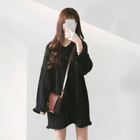 2017 Newest Solid Knitted V Neck Sweater Dresses Loose Casual Autumn Winter Pullover Women Dress Vestidos