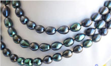 """free shipping New hot 9-10mm Tahitian Black Natural Pearl Necklace 48"""" AAA++ a()"""