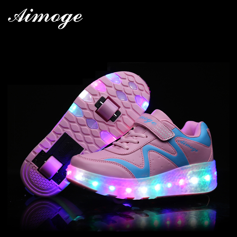 ФОТО Rollers sneaker Roller Shoes with two wheels shoe rolling kids girl led light up shoes for children wheel shoes 27-43