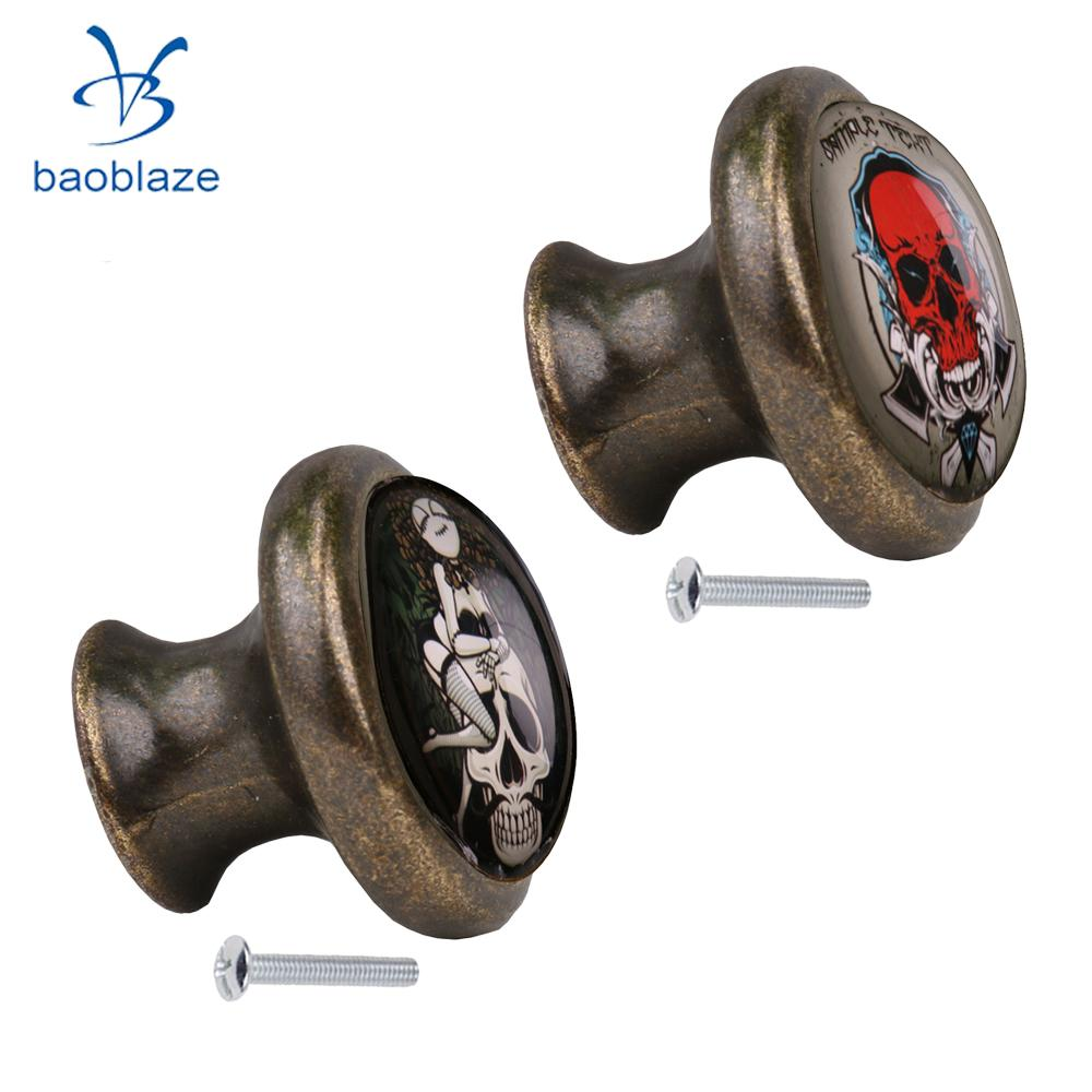 2pcs Skull Pattern Vintage Metal Door Knob Cupboard Cabinet Bin Drawer Dresser Pulls Handle Knob Furniture Hardware #2 1 pair 4 inch stainless steel door hinges wood doors cabinet drawer box interior hinge furniture hardware accessories m25