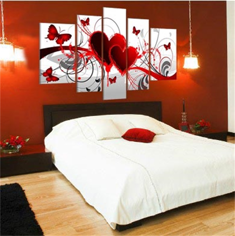 5 Panels Heart Shape Picture Handmade Modern Abstract Oil Painting On Canvas Wall Art Wedding Gift Home Decor No Framed JYJHS004