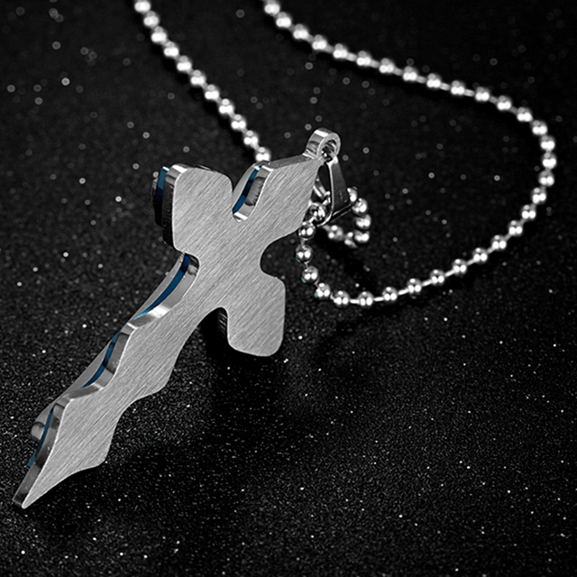 Pendant Necklaces Men Jewellery Silver Blue Stainless Steel Cross Pendant Free Necklace Chain