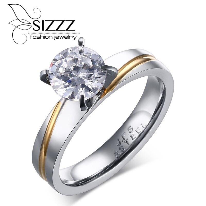 Sizzz Для женщин Кольца Свадебные Обручальные кольца для Для женщин 316L Нержавеющаясталь Любовь Обещание круглая огранка CZ Кольцо