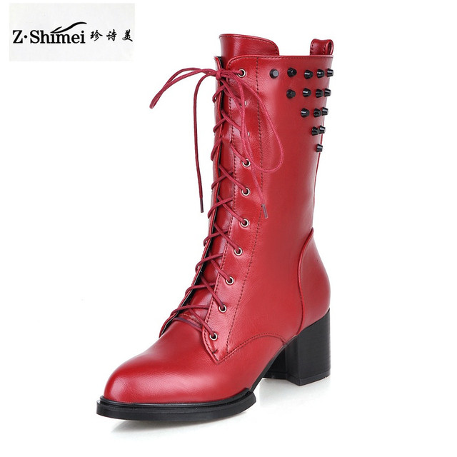 Lace Boot Black Red Heels