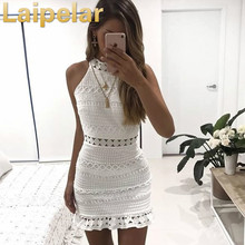Laipelar New Vintage hollow out lace dress women Elegant sleeveless white dress summer chic party sexy dress vestidos robe цена и фото