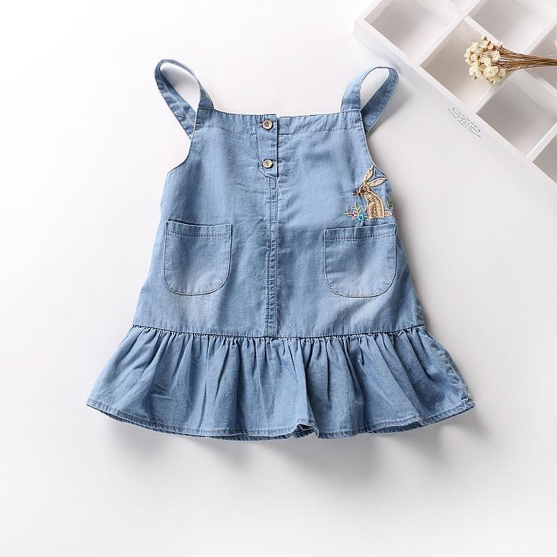 c03698b11bc4 Girls strap dress Kids thin denim falbala dresses summer baby ...