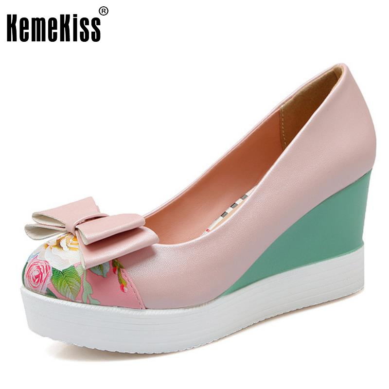 Size 33-42 Ladies High Heel Shoes Women Wedges Boewtie Platform Pumps Fashion Female Mixed Color Print Round Toe Casual Shoes plus size 33 42 pointed toe genuine leather buckle mixed colors fashion casual high heel shoes platform high quality women pumps