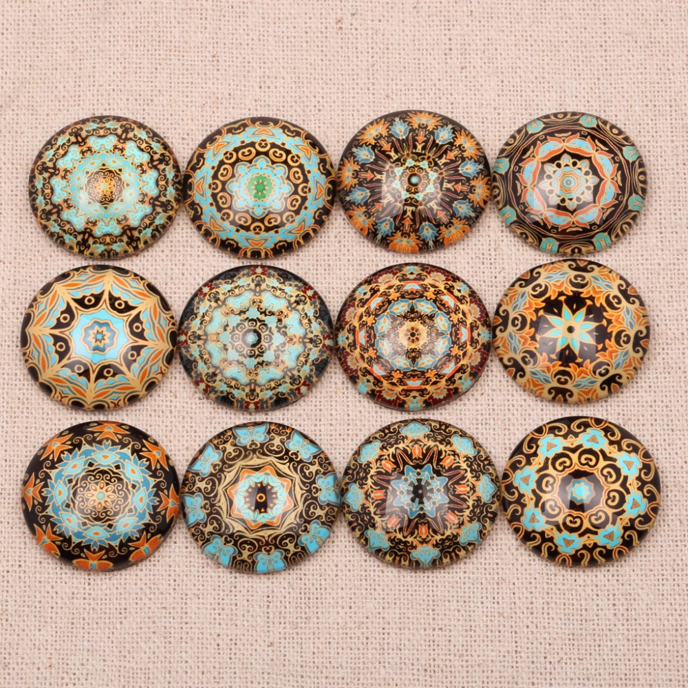 onwear Round Mandala Pattern Photo Glass Cabochon 10mm 12mm 14mm 18mm 20mm 25mm mixed flabtack diy handmade jewelry findings