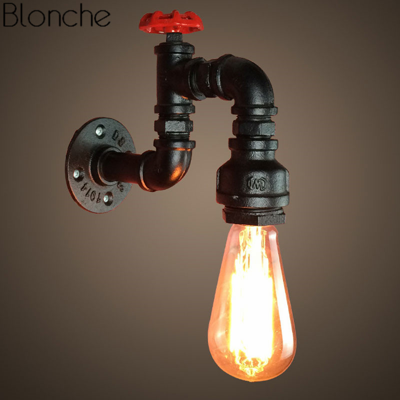 Iron Rust Water Pipe Wall Light Industrial Decor Wall Lamp Modern Vintage Sconce For Bar Bedroom Living Room Loft E27 Luminaire steampunk loft 4 color iron water pipe retro wall lamp vintage e27 e26 sconce lights for living room bedroom restaurant bar