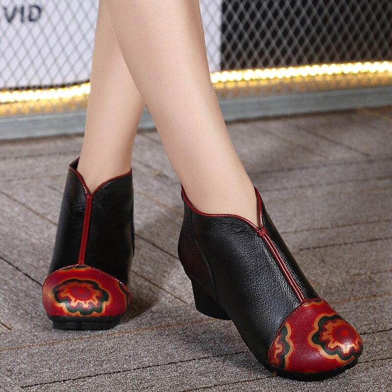 ФОТО Original ethnic style retro women leather boots shoes elegant ladies thick heel cotton winter boots comfortable