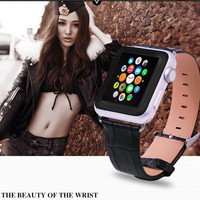 Luxury Genuine Watch Strap For Apple Watch Band 42mm 38mm Leather Loop Link Bracelet For IWatch