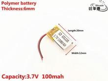 3.7 V, 100 mAH, 601220 Polímero de íon de lítio/bateria de Iões de lítio para o BRINQUEDO, BANCO de POTÊNCIA, GPS, mp3, mp4