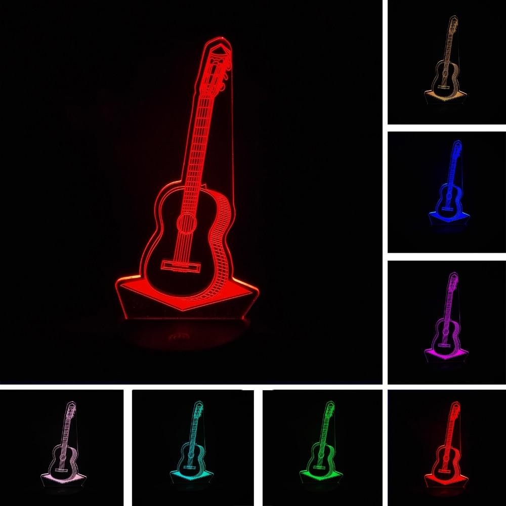 Luzes da Noite 3d guitarra moda noite iluminação Fonte de Luz : Lâmpadas Led