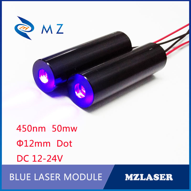 DC12V-24V Blue Dot Laser 12mm 450nm 50mw   Blue  Industrial Grade ACC Constant Power Drive Laser Module