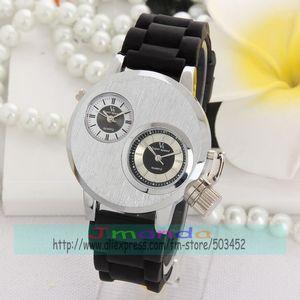 Image 4 - 100 teile/los V6 Silber Stahl Uhr Mode Männer Business Silikon Strap Zwei Bewegung herren uhren top marke luxus