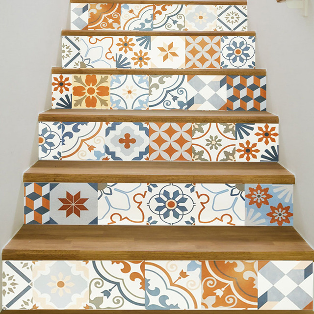 6pcs/lot BoConcept Ceramic Tile Stair Stickers Colorful Retro Staircase  Decoration Decal Waterproof DIY Home