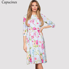Elegant Lantern Sleeve Floral Print Summer Dress Women O-Neck Elastic Waist Casual Dress Fashion Lady Office Work Wear Vestidos(China)