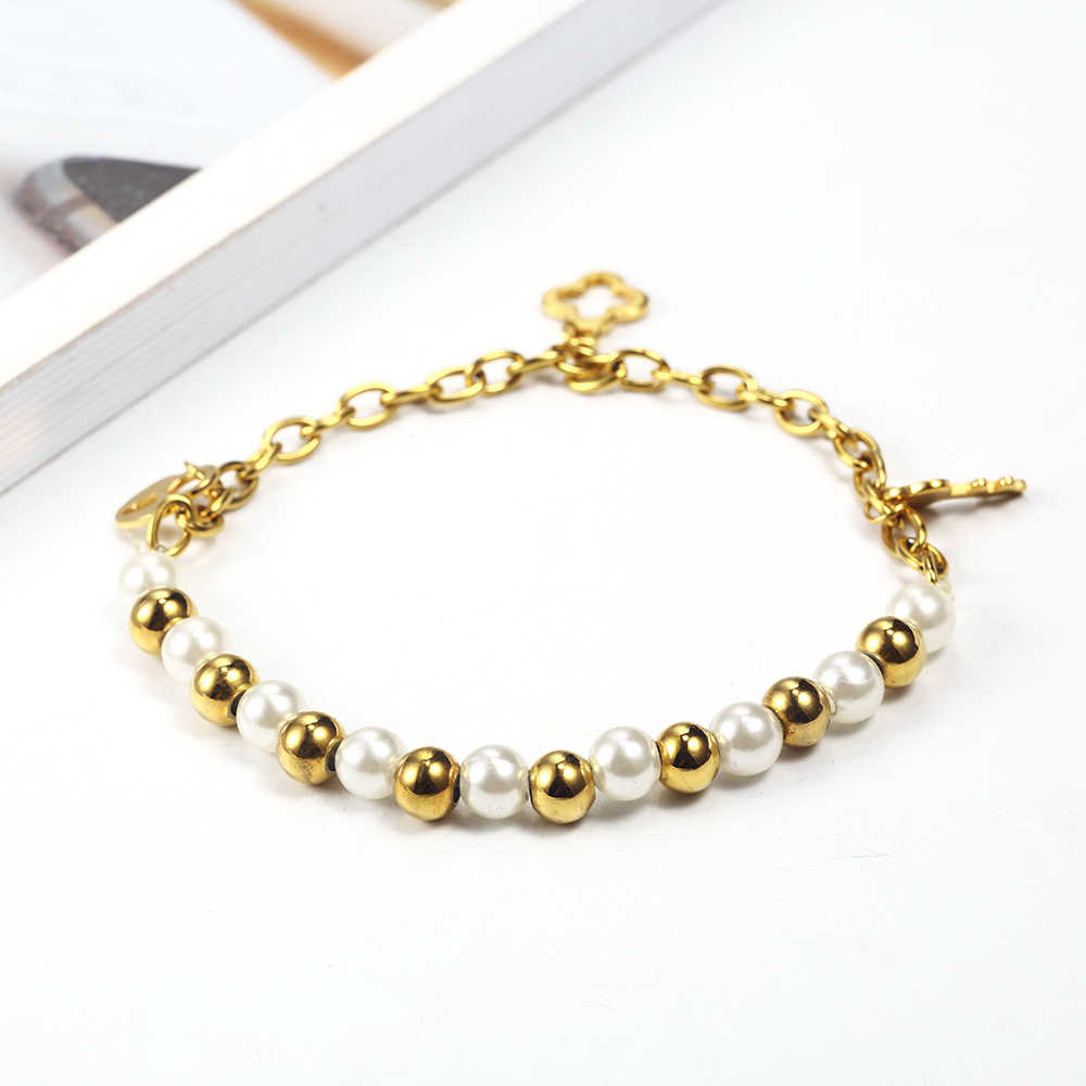 OUFEI Charm Bracelet Jewelry Accessories Stainless Steel Jewelry Woman Vogue 2019 Pearl Steel ball Bracelets Bangles For Women