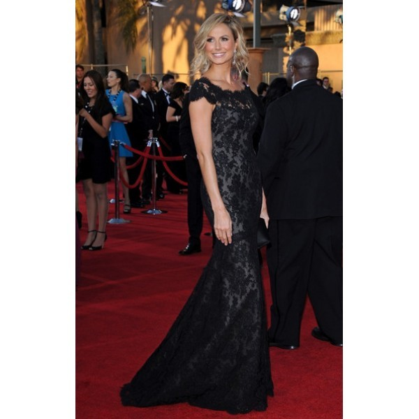 Stacy Keibler Black Lace Prom Dress 2012 SAG Awards Red Carpet 3-600x600