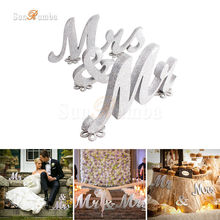 Mr & Mrs Silver Color Wood Sign Wedding Decor Festive Event Party Supplies Mariage Table Decorations Photo Booth