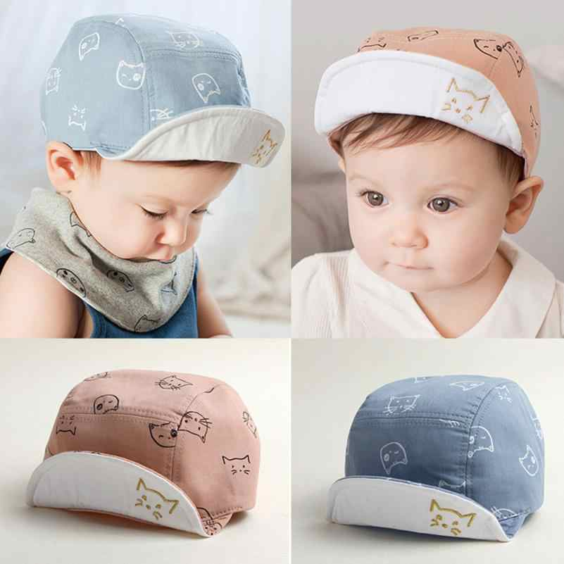 d0a484d995c NewCute Baby Kids Comfortable Bongrace Hat Peak Cap Cat Kitten Cartoon Kids  Soft Cotton Sun Cap