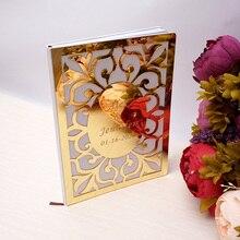 Свадебная пользовательская Гостевая книга с подписью овальная белая пустая внутренняя страница персонализированные зеркальные книги для гостей подарки вечерние подарки для декора 26x19 cm