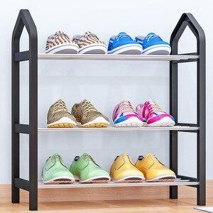 Image 2 - Basit ayakkabı rafı çelik boru plastik 3 katmanlı ayakkabı raf raf kolay monte hafif depolama organizatör standı tutucu uzay tasarrufu