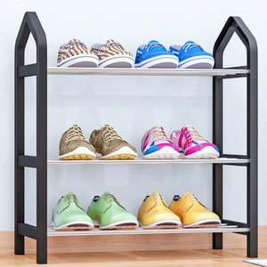 Image 2 - Simple Shoe rack Steel Pipe Plastic 3 Tier Shoe Rack Shelf Easy Assembled Light Storage Organizer Stand Holder Space Saving