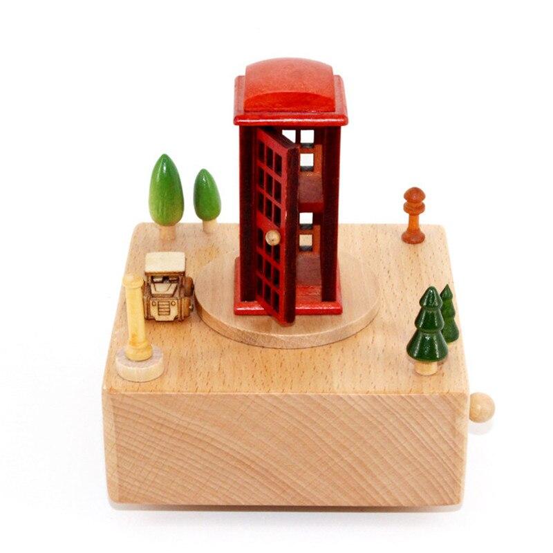 Weihnachten 2019 Musik.Us 5 15 Kongwal 2019 Heißer Verkauf Red Phone Booth Karussell Musik Box Weihnachten Geschenk Geburtstag Vorhanden Holz Handwerk Kreative Geschenke