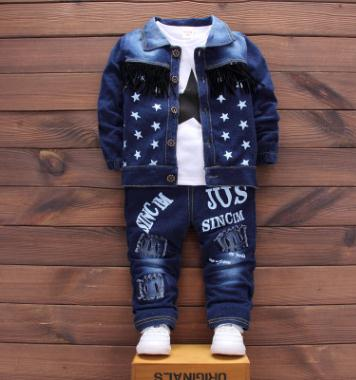 Childrens Set 2018 Spring Autumn New Stylish Denim Boys Clothing 3Pcs Set Kids Clothes Baby Suits for 1 2 3 4 Year QHQ011