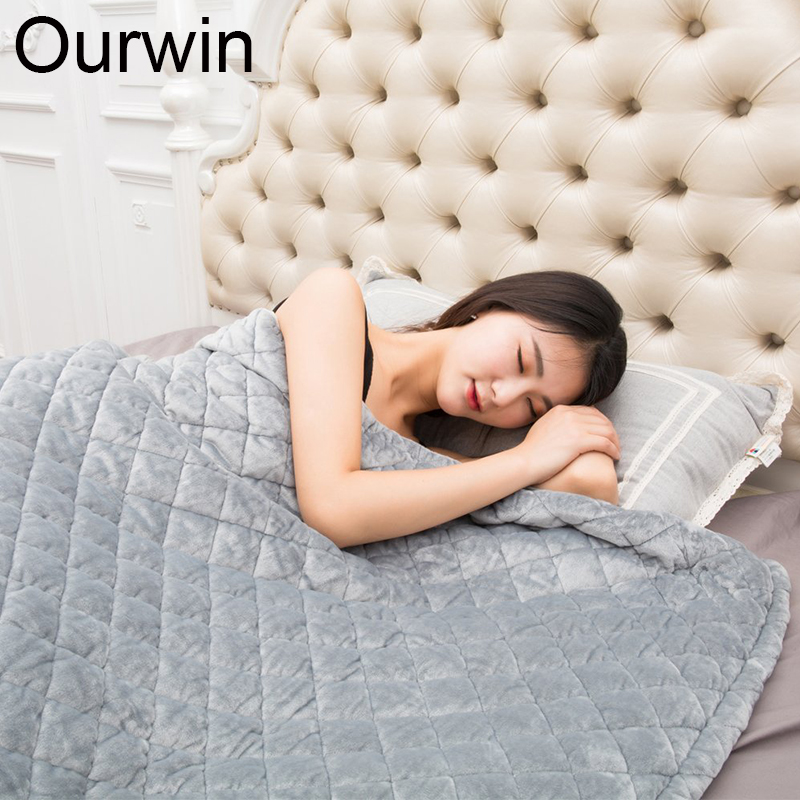 Weighted Blanket Quilt For Adults Promote Deep Sleep Relief Stress and Anxiety Flannel Removable Duvet Cover Gravity Quilt