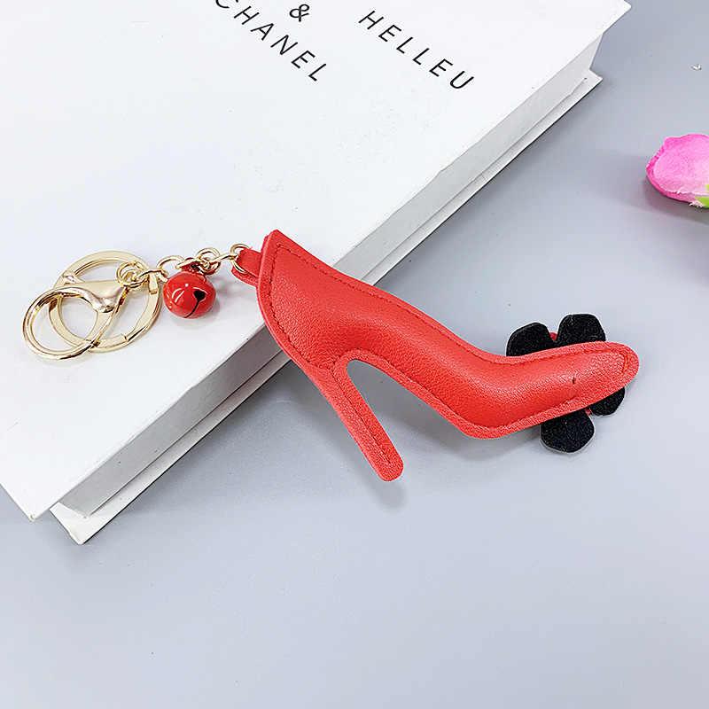 Новинка, искусственная кожа, красный цветок, высокий каблук, стиль, колокольчик, сплав, цепочка для ключей, подвесной кулон, сумка для девочек, автомобильный кулон, маленький подарок
