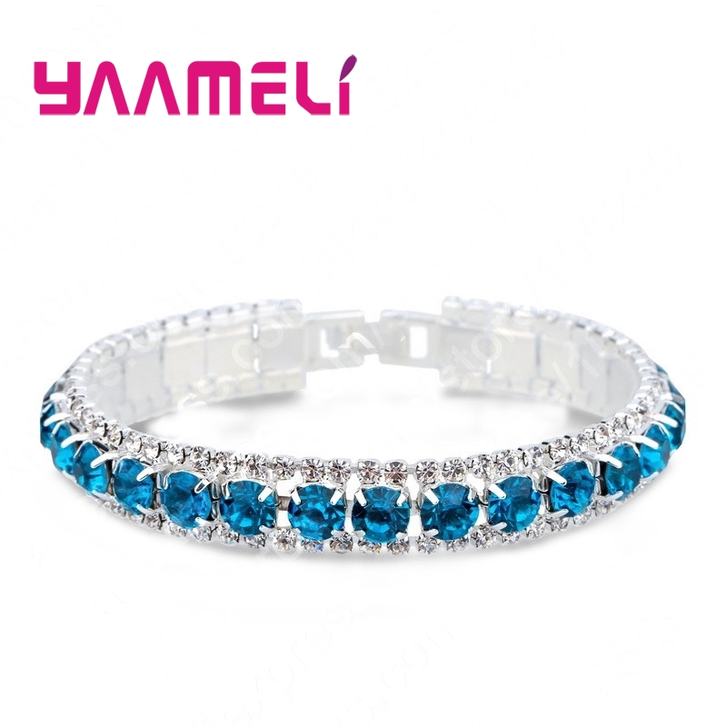 YAAMELI Top Sale 925 Sterling Silver Bracelets Full AAA Zircon Austrian Crystal Femme Women Link Chain Jewelry Bangles 14 Colors 1