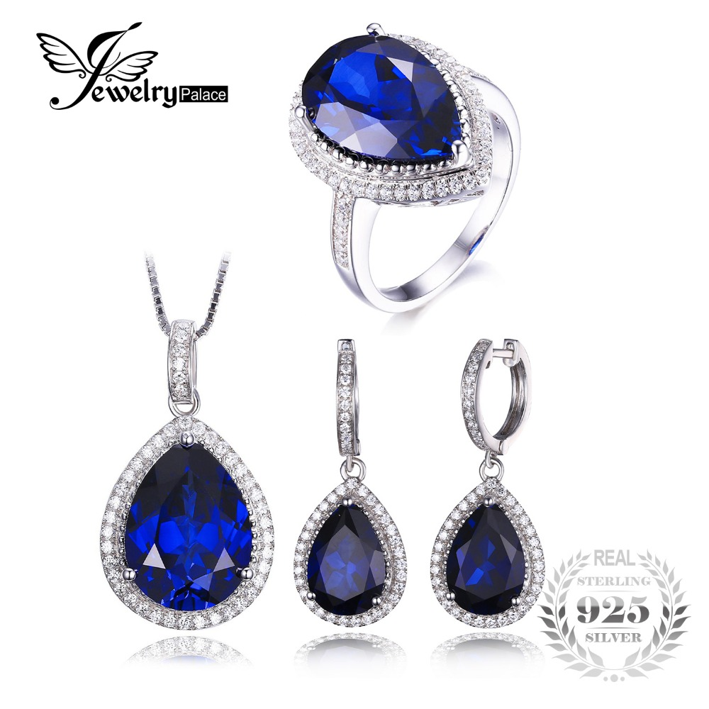 JewelryPalace Luxury Pear Cut Created Sapphire Ring Pendant Necklace Earring Clip Jewelry Set Solid 925 Sterling Silver Jewelry