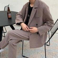 Весенне-осенний клетчатый однотонный Повседневный свободный костюм с воротником, куртка, брюки, можно продать отдельно коричневый s-xl