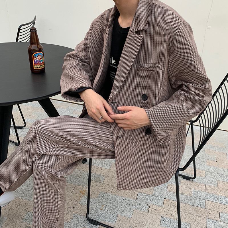 2019 Spring And Autumn New Plaid Solid Color Casual Loose Collar Suit Jacket Pants Can Be Sold Separately Brown S-XL