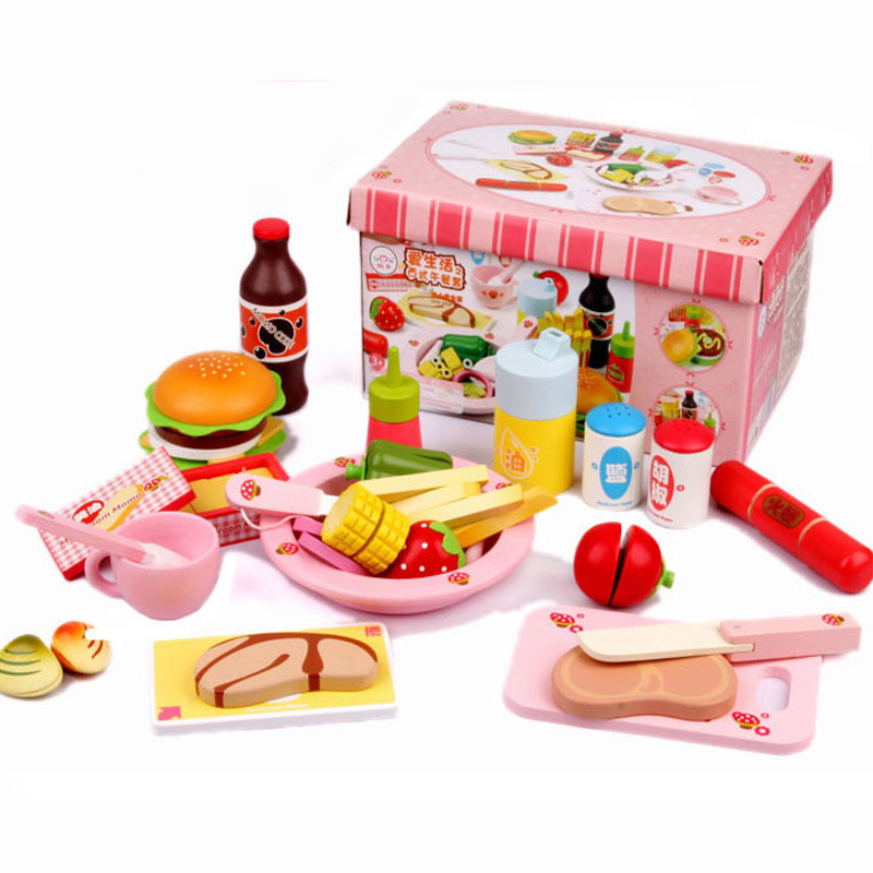 Children classic Simulation wooden food Western lunch toys, Kids Kitchen Toys Set Assembly scale models Hamburg etc wood toy kitchen food set baby toys mother garden strawberry toast bread machine western breakfast set wooden toys educational gift