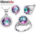 Designer Women Jewelry Set Sterling Silver Cubic Zirconia Costume Jewellery Bridal Earrings Necklaces & Pendants Uloveido T484