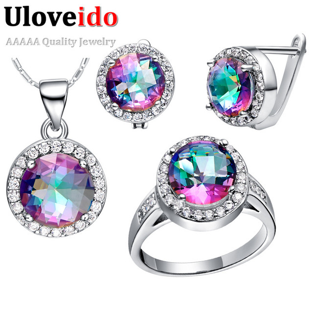 Designer Women Jewelry Set Sterling Silver Cubic Zirconia Costume Jewellery Bridal Earrings Necklaces & Pendants Uloveido T484