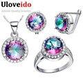 Designer de mulheres traje jóias conjunto de jóias de prata esterlina cúbicos de zircônia brincos de noiva colares & pingentes uloveido t484