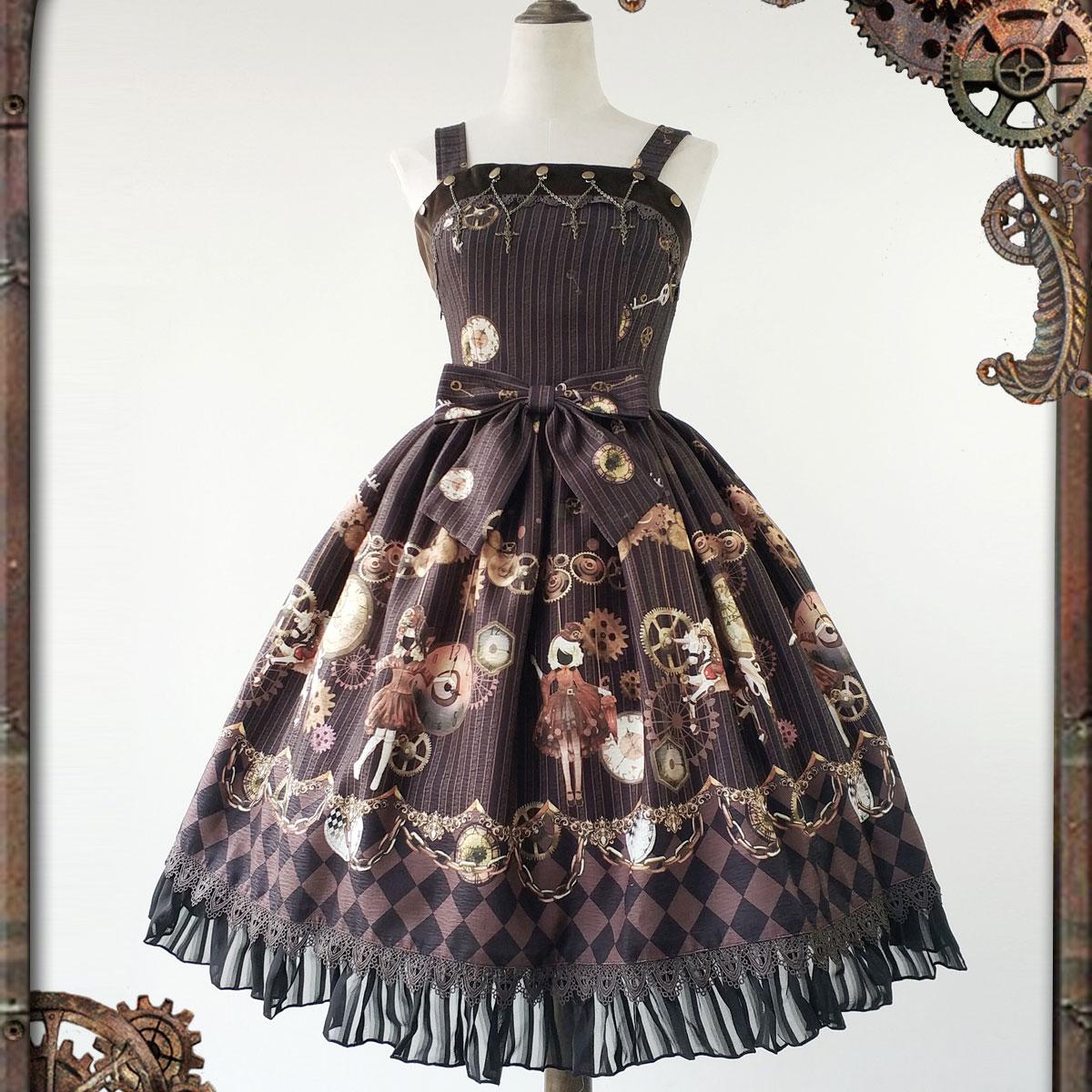 Robe Steampunk pour femme série de poupées mécaniques imprimé Lolita JSK robe par Infanta * pré-commande *
