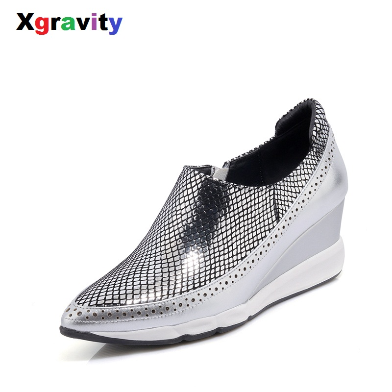 Xgravity Dropshipping New Spring Autumn Hot Lady High Heel Wedge Shoes Elegant Genuine Leather European American Lady Shoes C007Xgravity Dropshipping New Spring Autumn Hot Lady High Heel Wedge Shoes Elegant Genuine Leather European American Lady Shoes C007