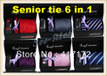 Старший галстук Подарочный Набор 6 в 1 (1 Галстук + 1 Платок + 1 зажим для Галстука + 2 Запонки + подарочная коробка) для дела Бизнеса/Ужин/Партии Бесплатная доставка